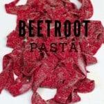 Fresh pink beetroot pasta shaped as tagliatelle