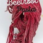 Fresh pink beetroot pasta shaped as spaghetti