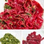 Pink beetroot pasta with basil pesto and steps to make it