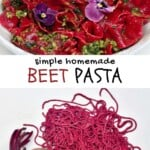 Pink beetroot pasta with basil pesto