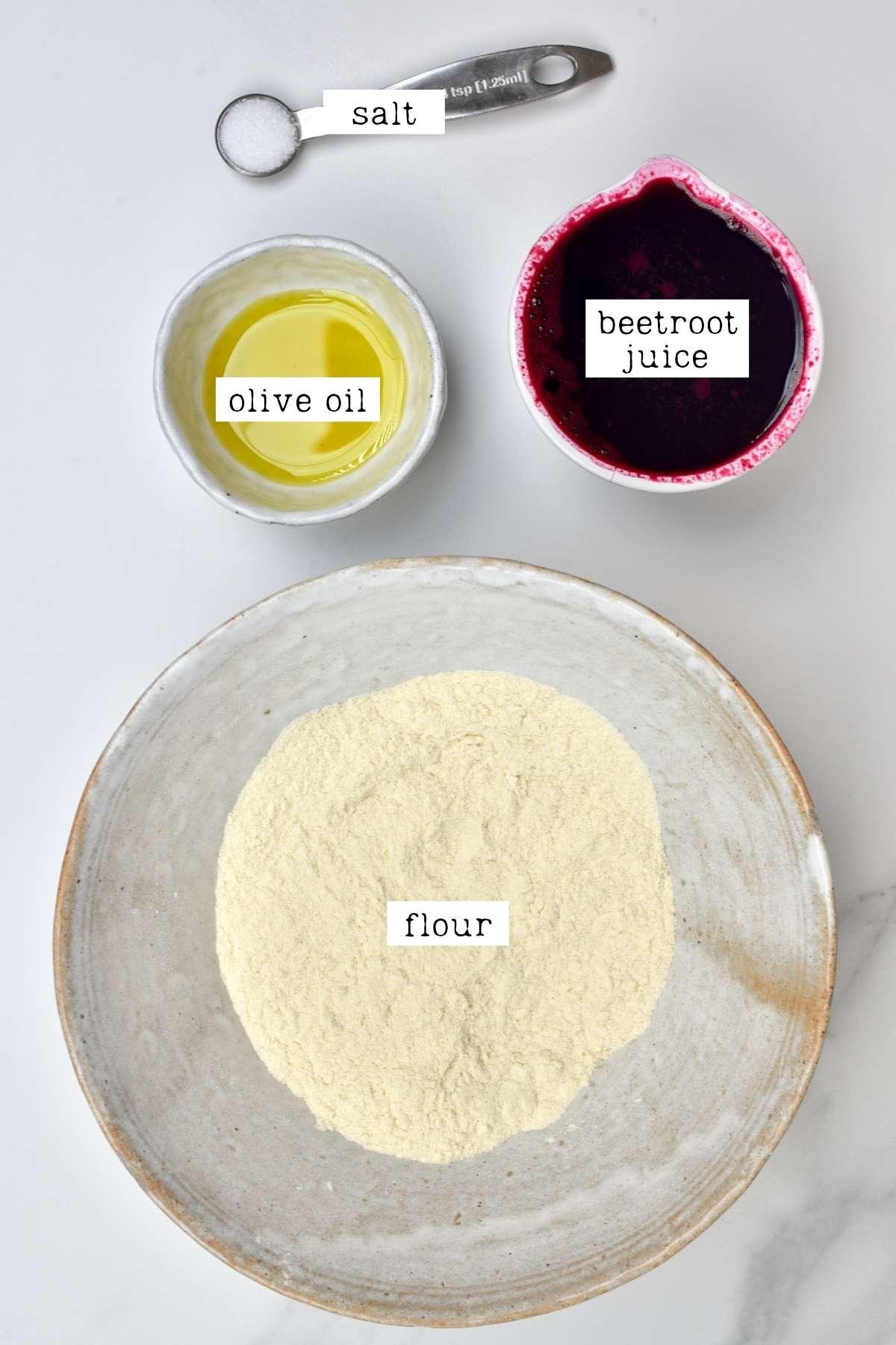 Ingredients for beetroot pasta