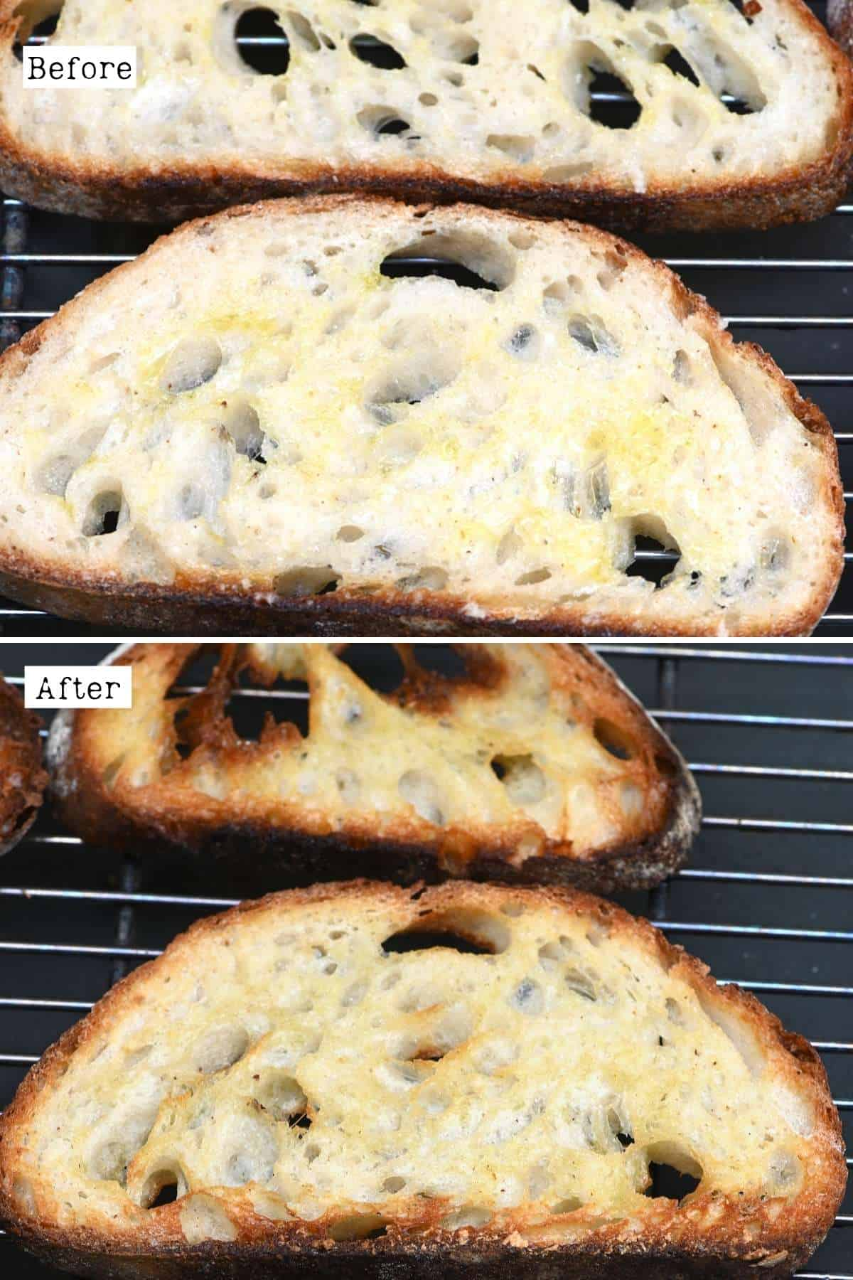 Before and after toasting bread in the oven