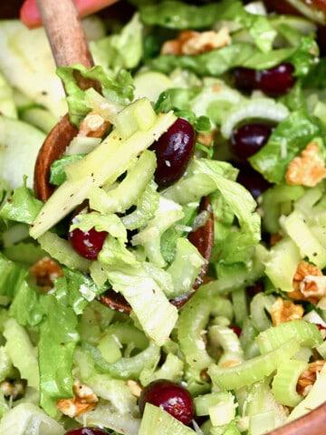 A close up of celery salad