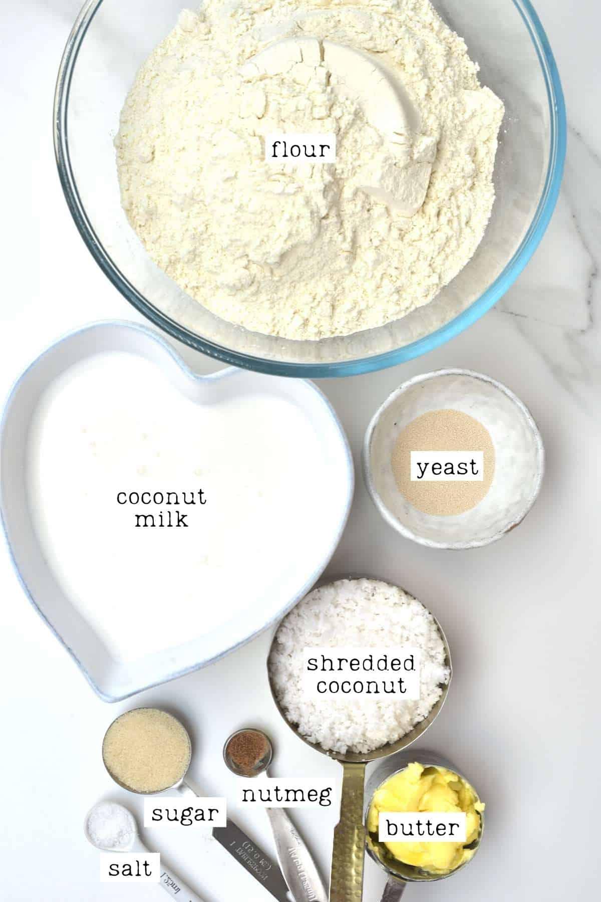 Coconut bake ingredients
