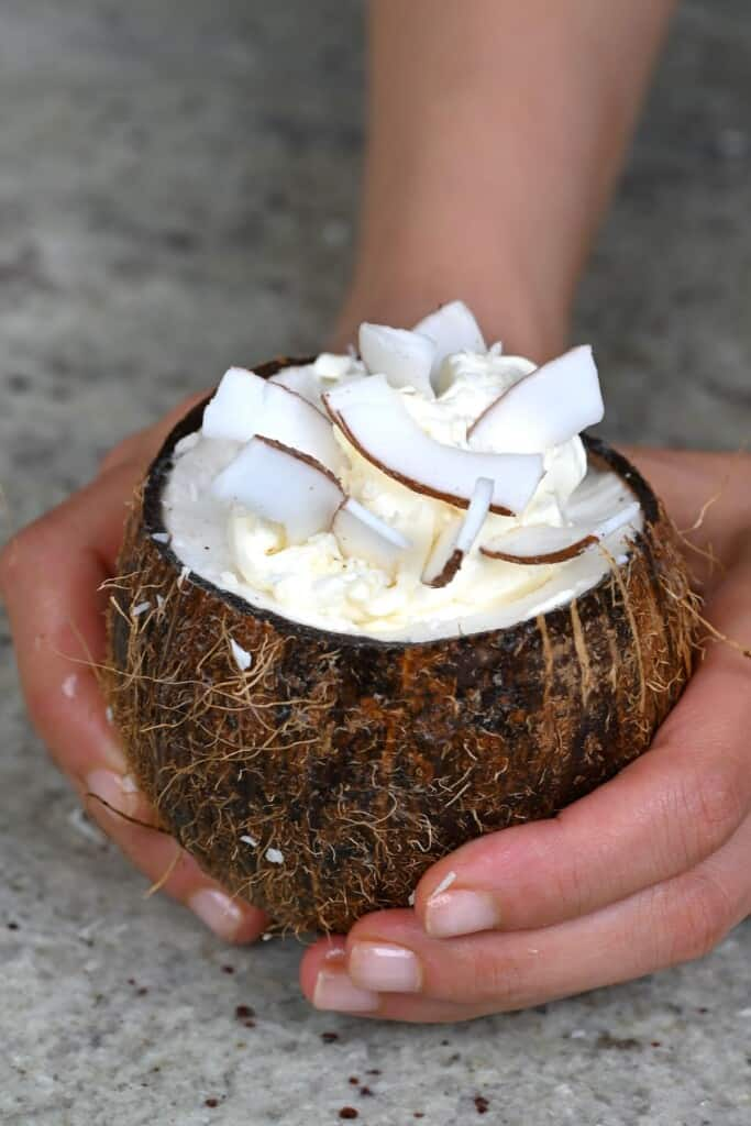 Coconut frappe in a cococnut shell