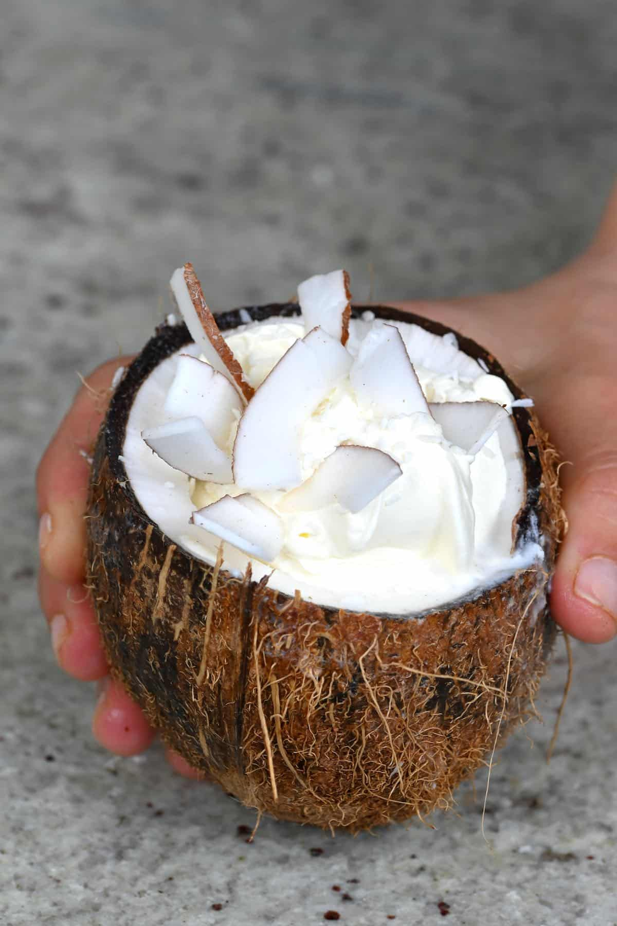 Coconut frappe served in a coconut bowl