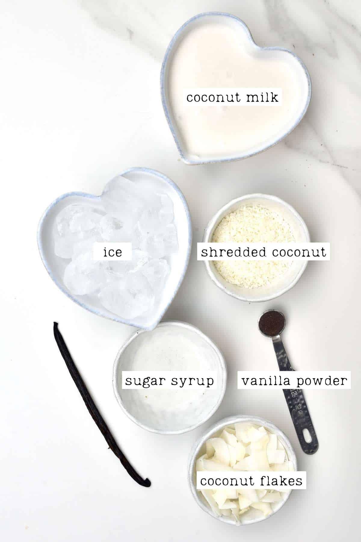 Ingredients for coconut frappe
