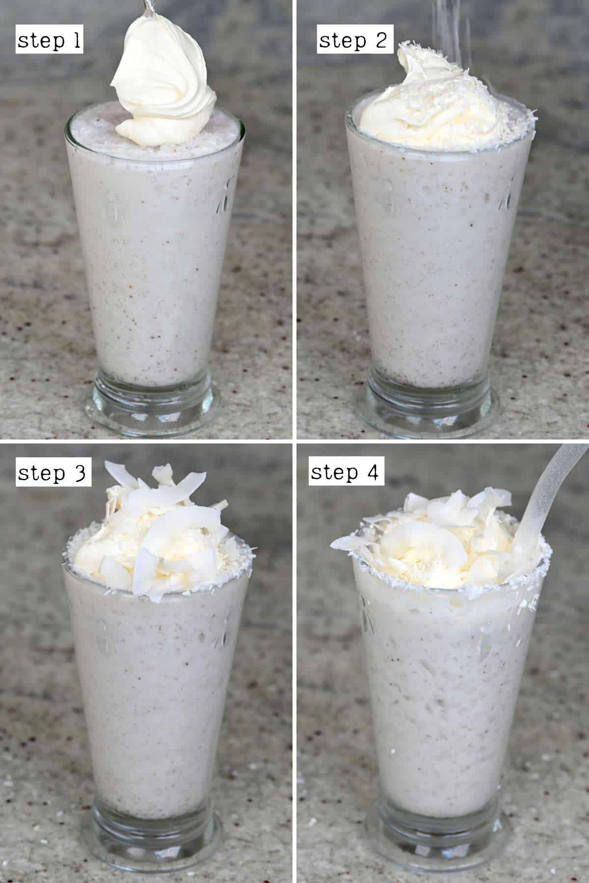 Steps for serving coconut frappe