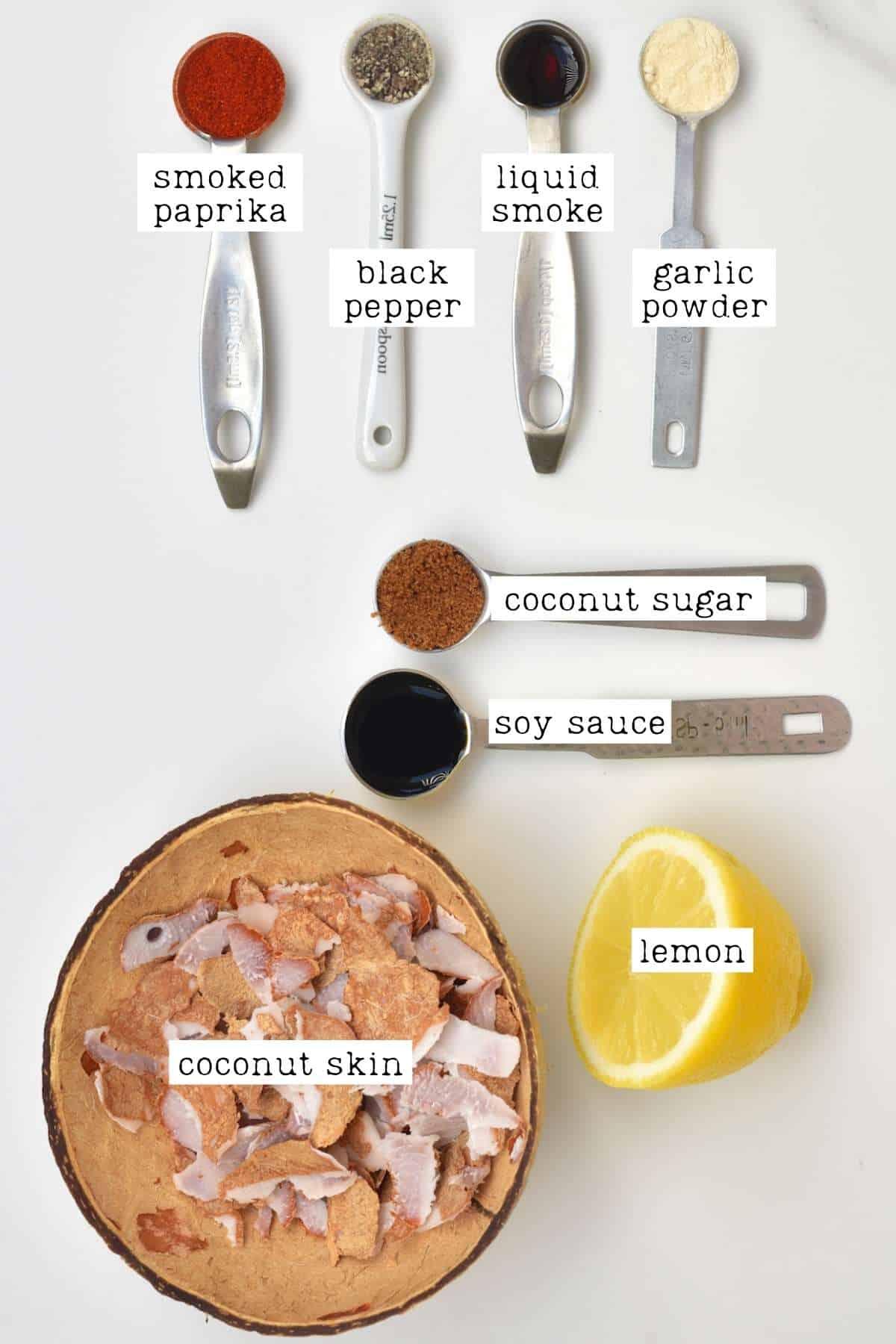 Ingredients for vegan coconut bacon