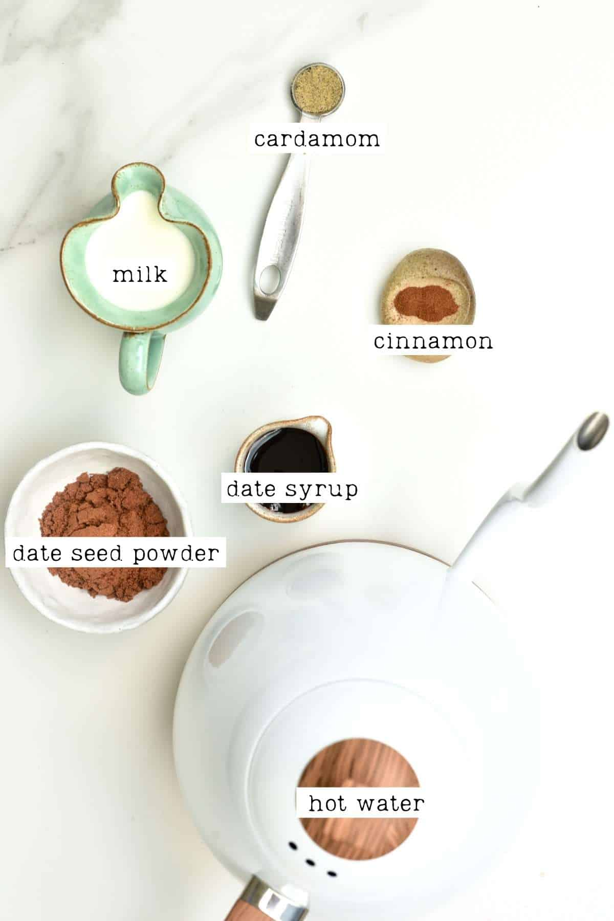 Ingredients for date seed coffee
