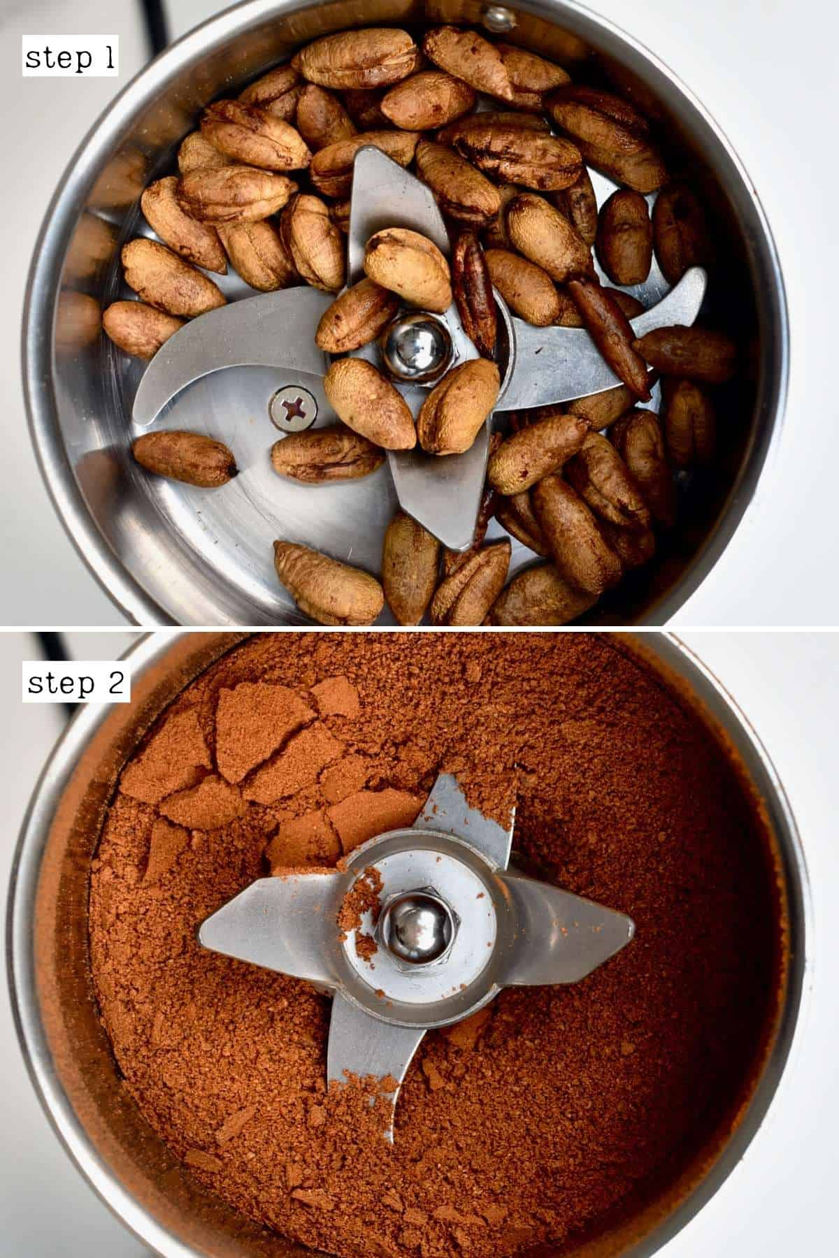 Steps for grinding date seed powder