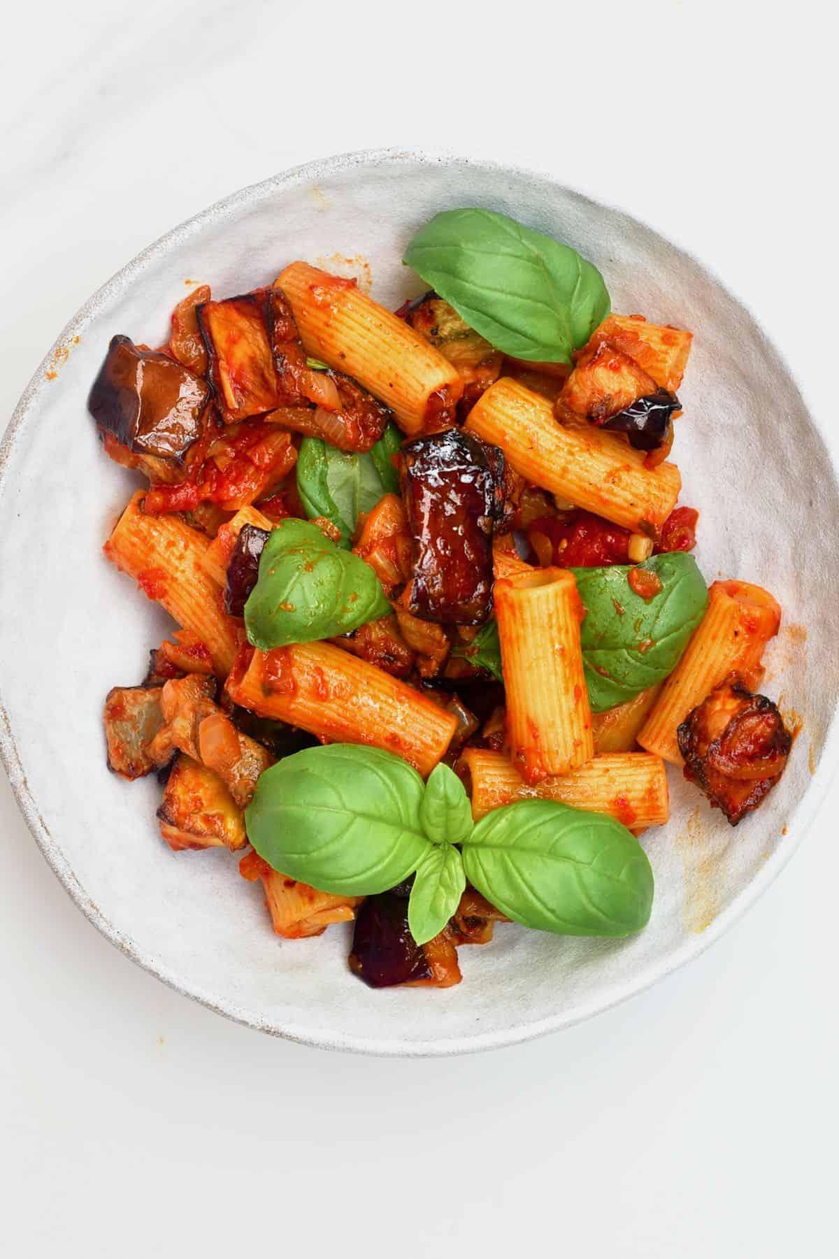 A bowl with pasta alla norma