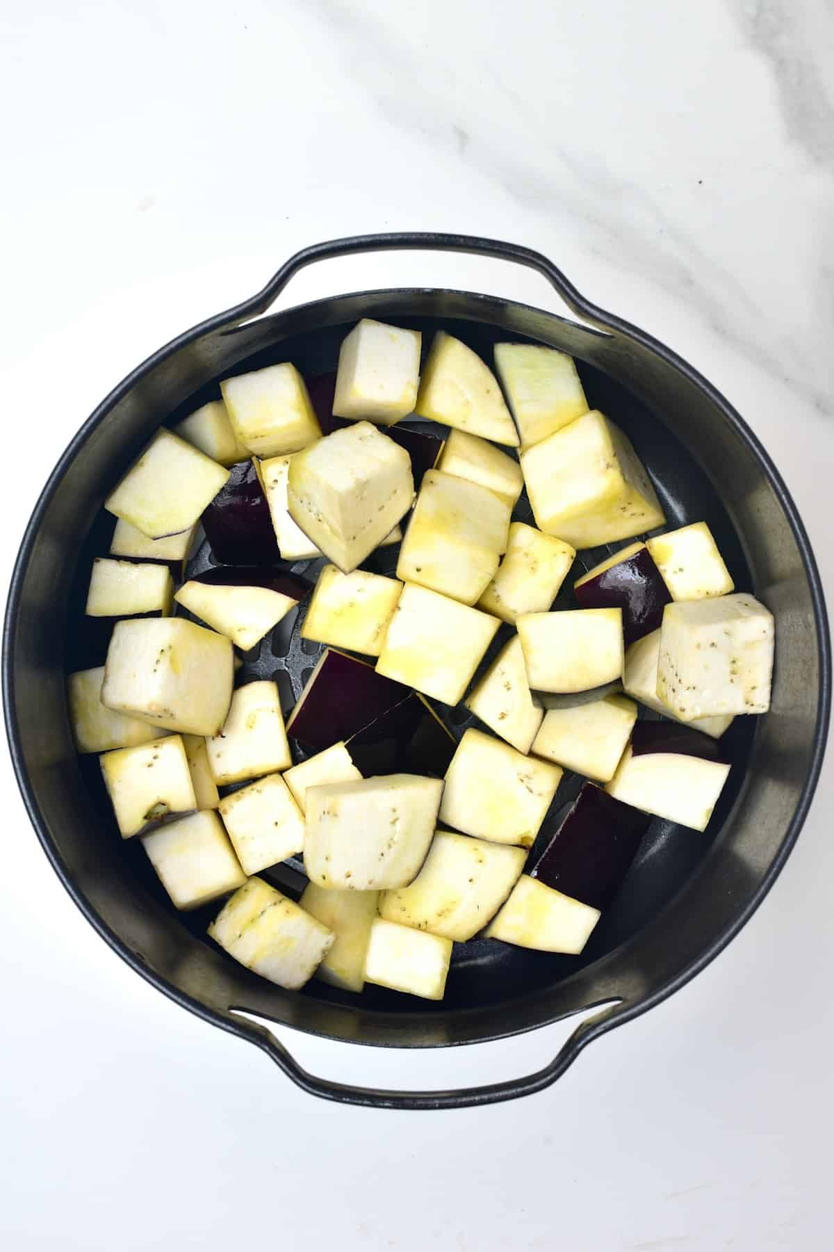 Eggplant in an air fryer tray