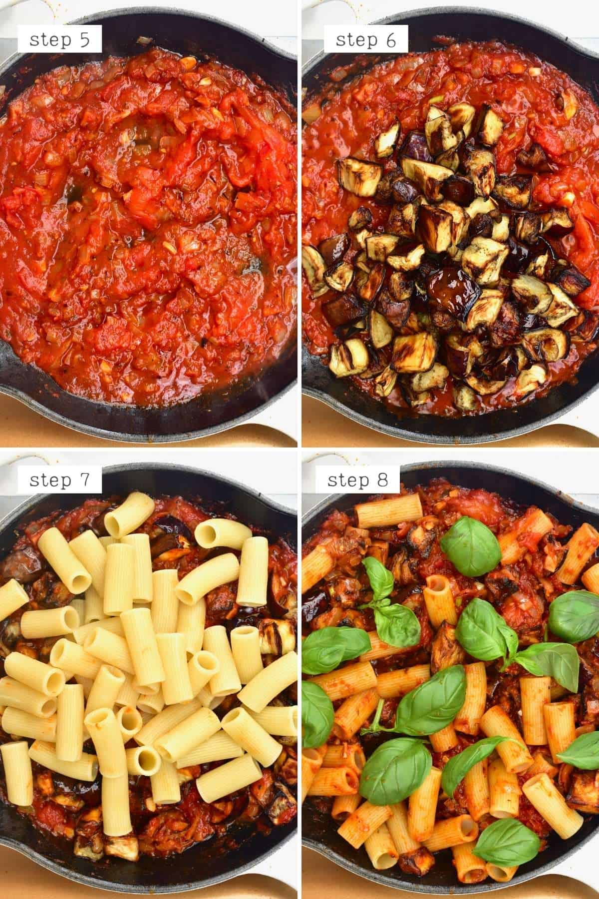 Steps for cooking pasta alla norma