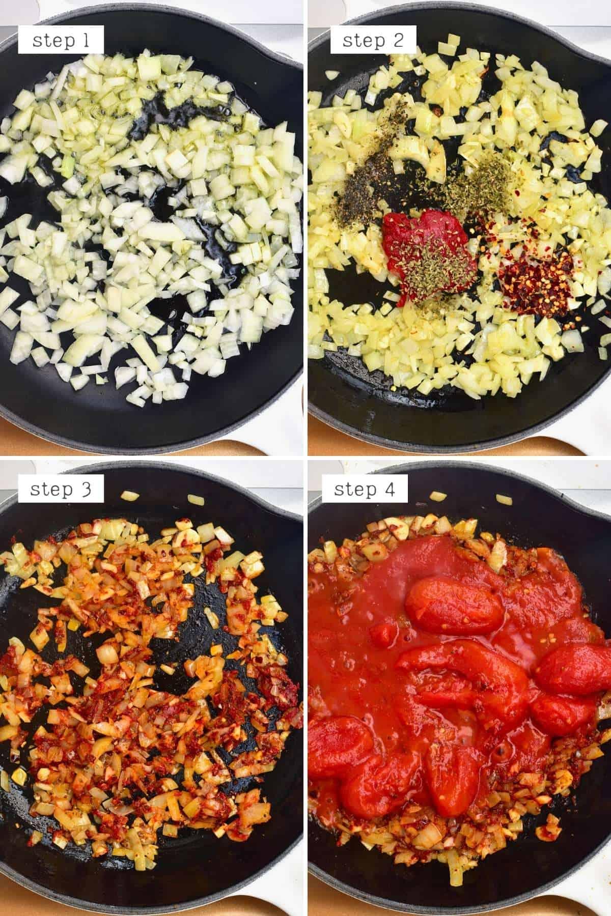 Steps for preparing tomato eggplant pasta