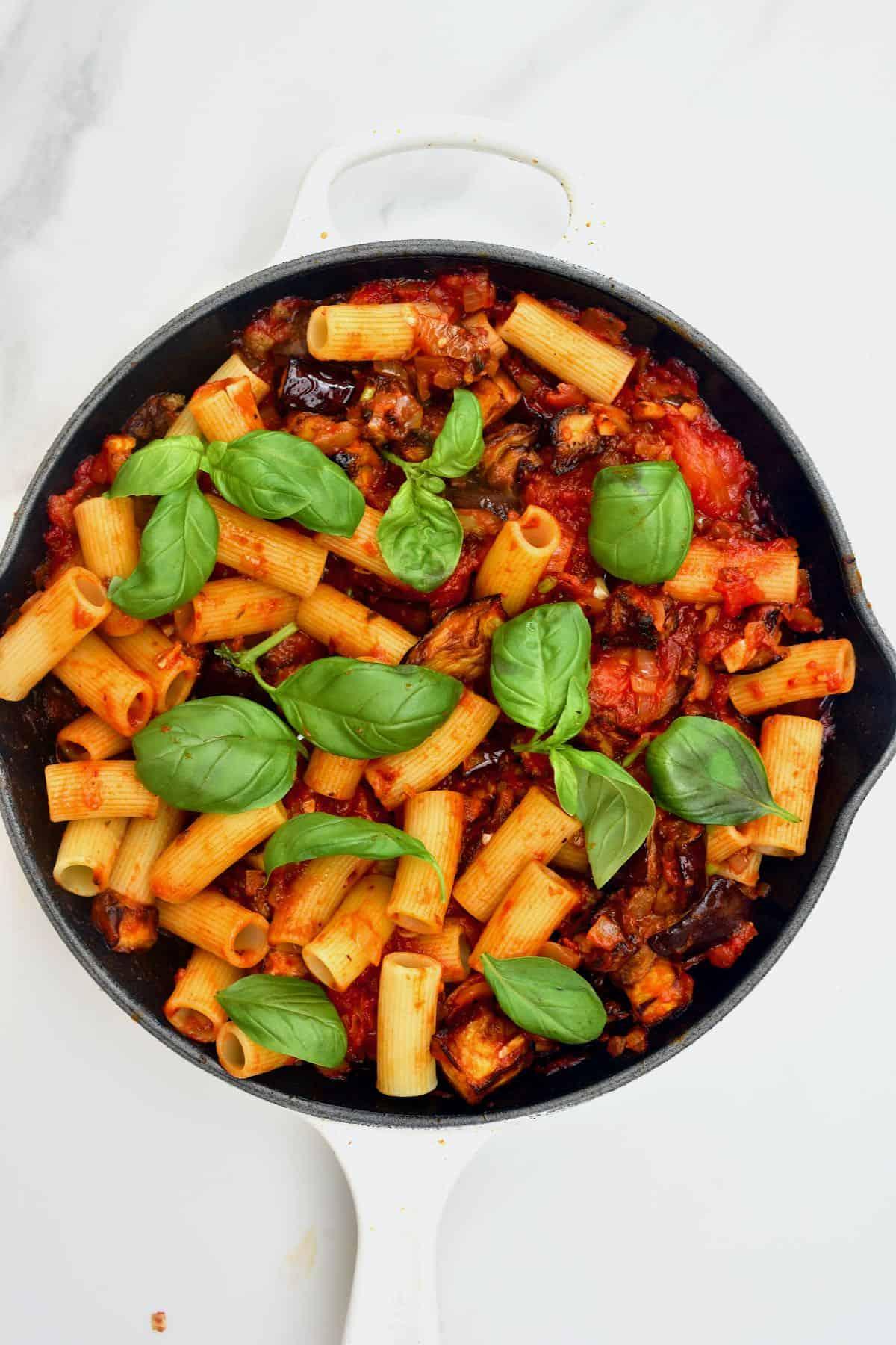 Tomato eggplant pasta in a pan