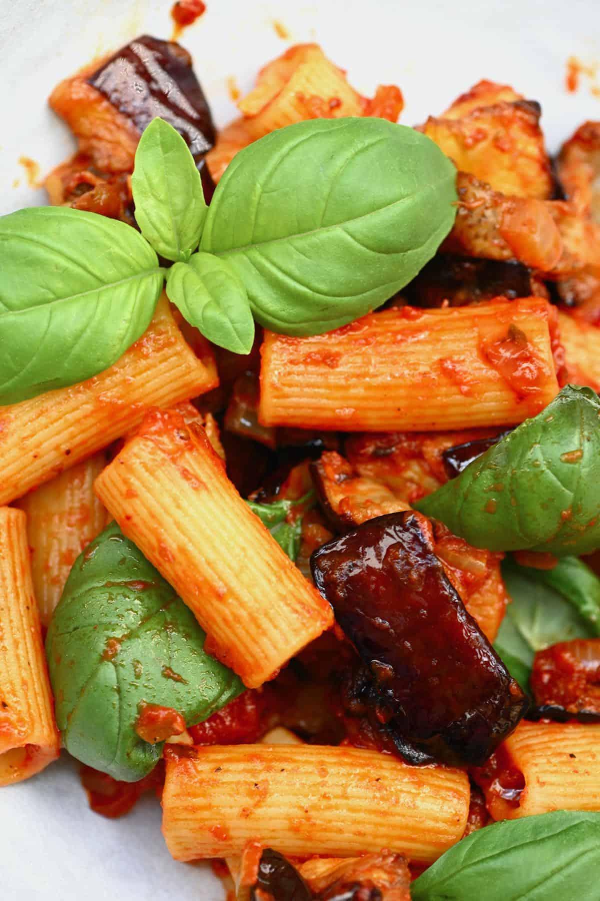 Tomato eggplant pasta