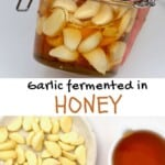 Fermented garlic honey in a jar and ingredients to make it
