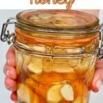 Fermented garlic honey in a jar