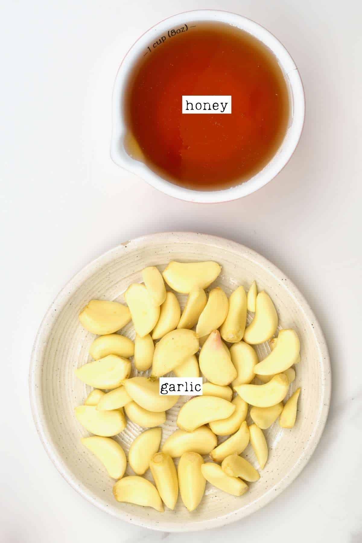 Ingredients for fermented honey garlic