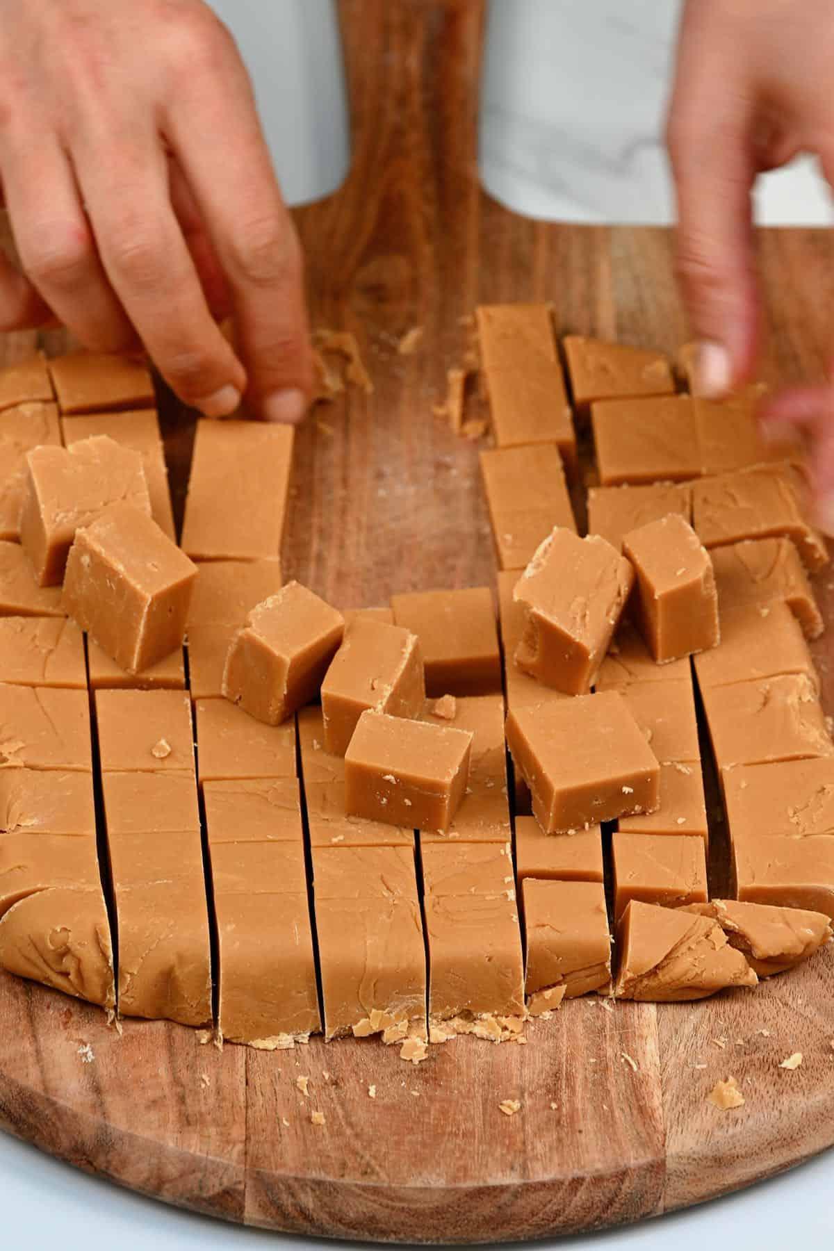 Cubes cut from homemade fudge