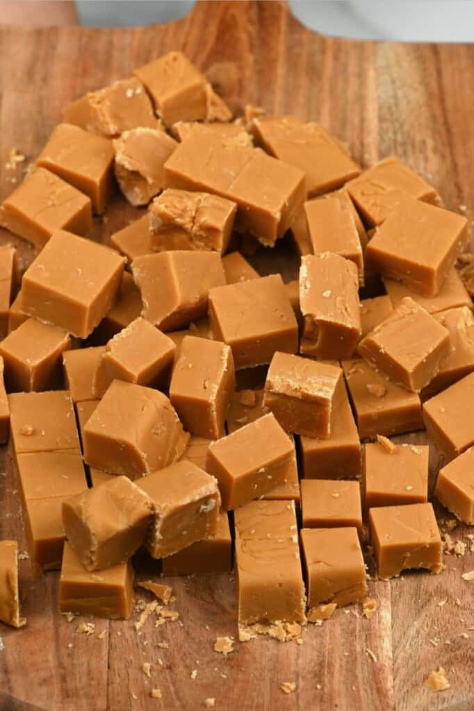 Homemade fudge cubes