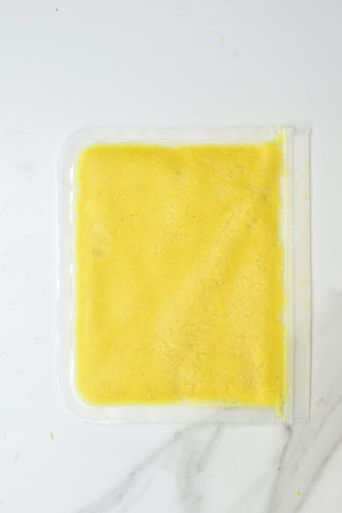 Ginger paste in a freezer bag