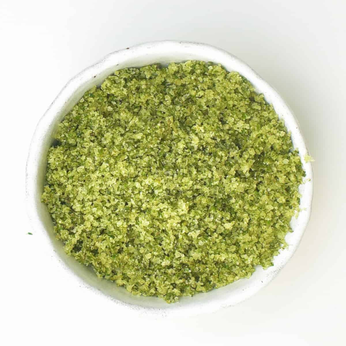 A small bowl with herb salt