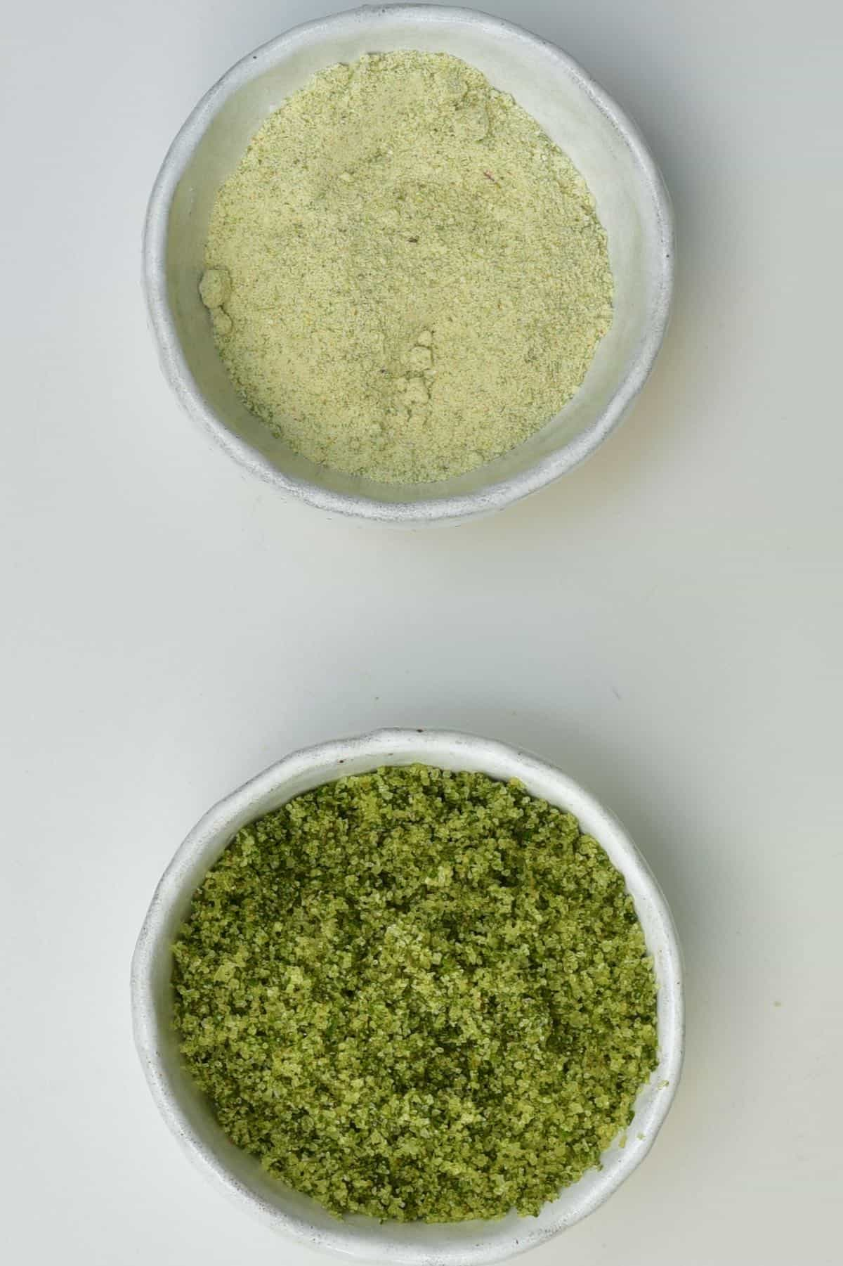 Two small bowls with herb salt
