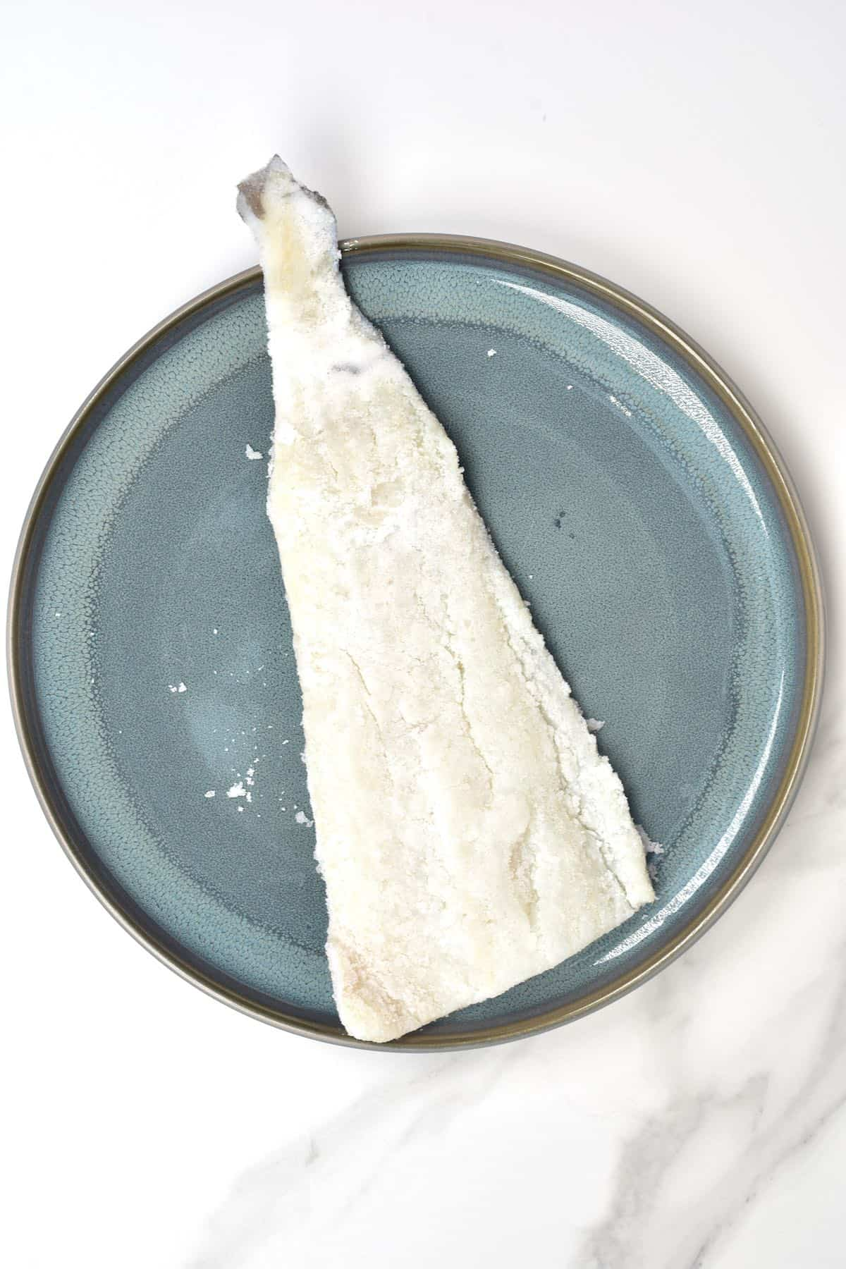 Salted cod fish in a plate
