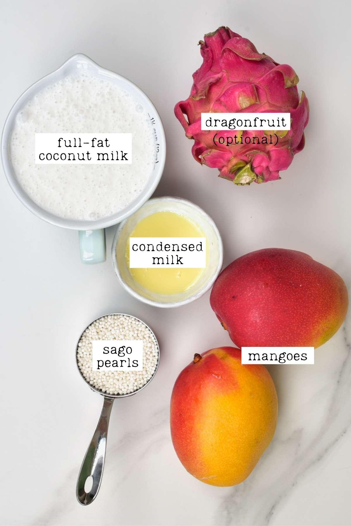 Ingredients for Mango Sago