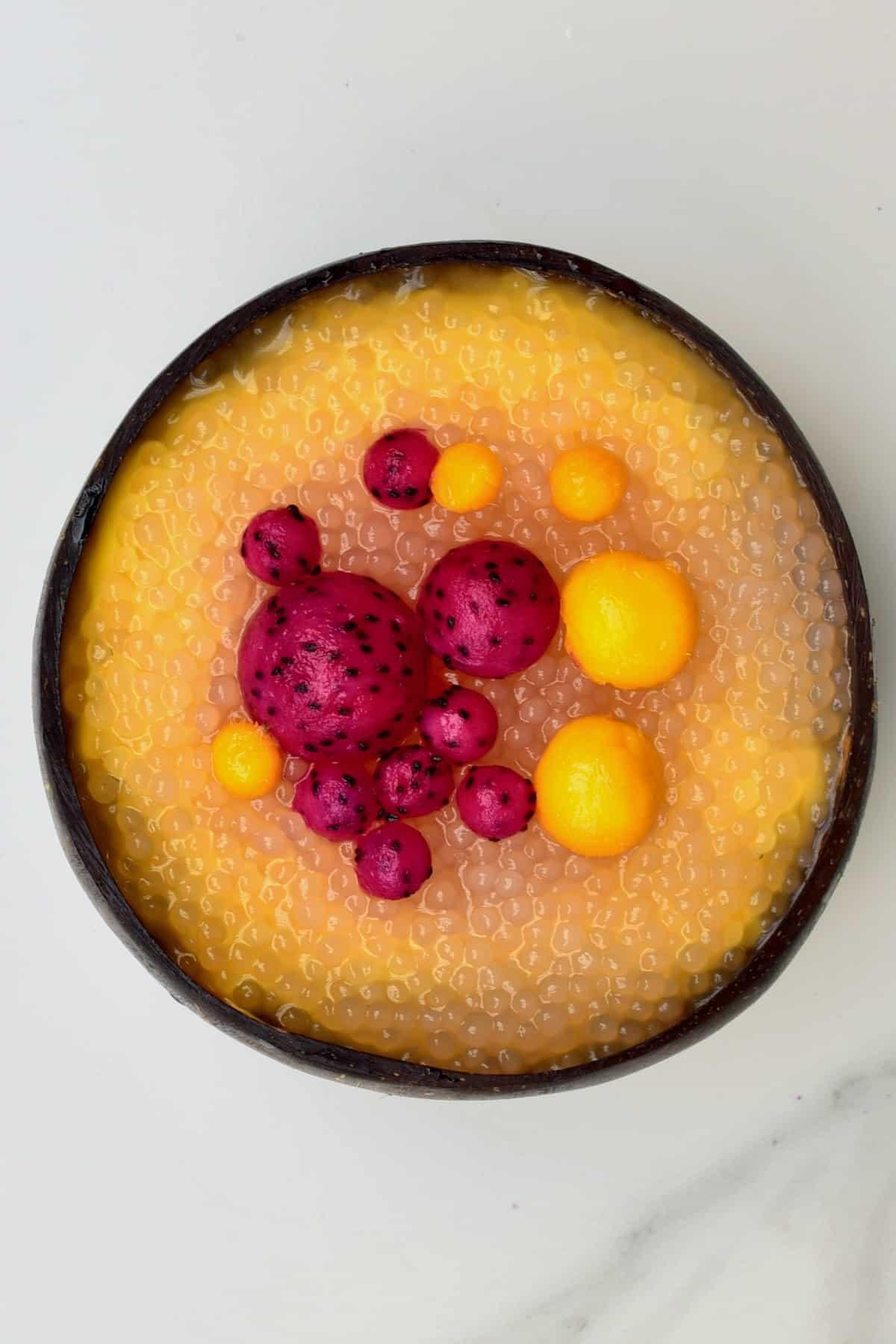 Mango sago in a bowl