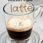 Making mushroom latte in a glass mug