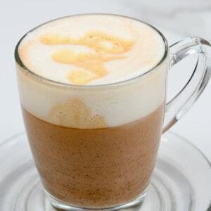 Mushroom latte in a glass mug