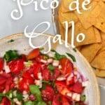Pico de Gallo in a bowl and some corn tortilla chips