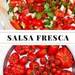Pico de Gallo and red tomatoes in a platter