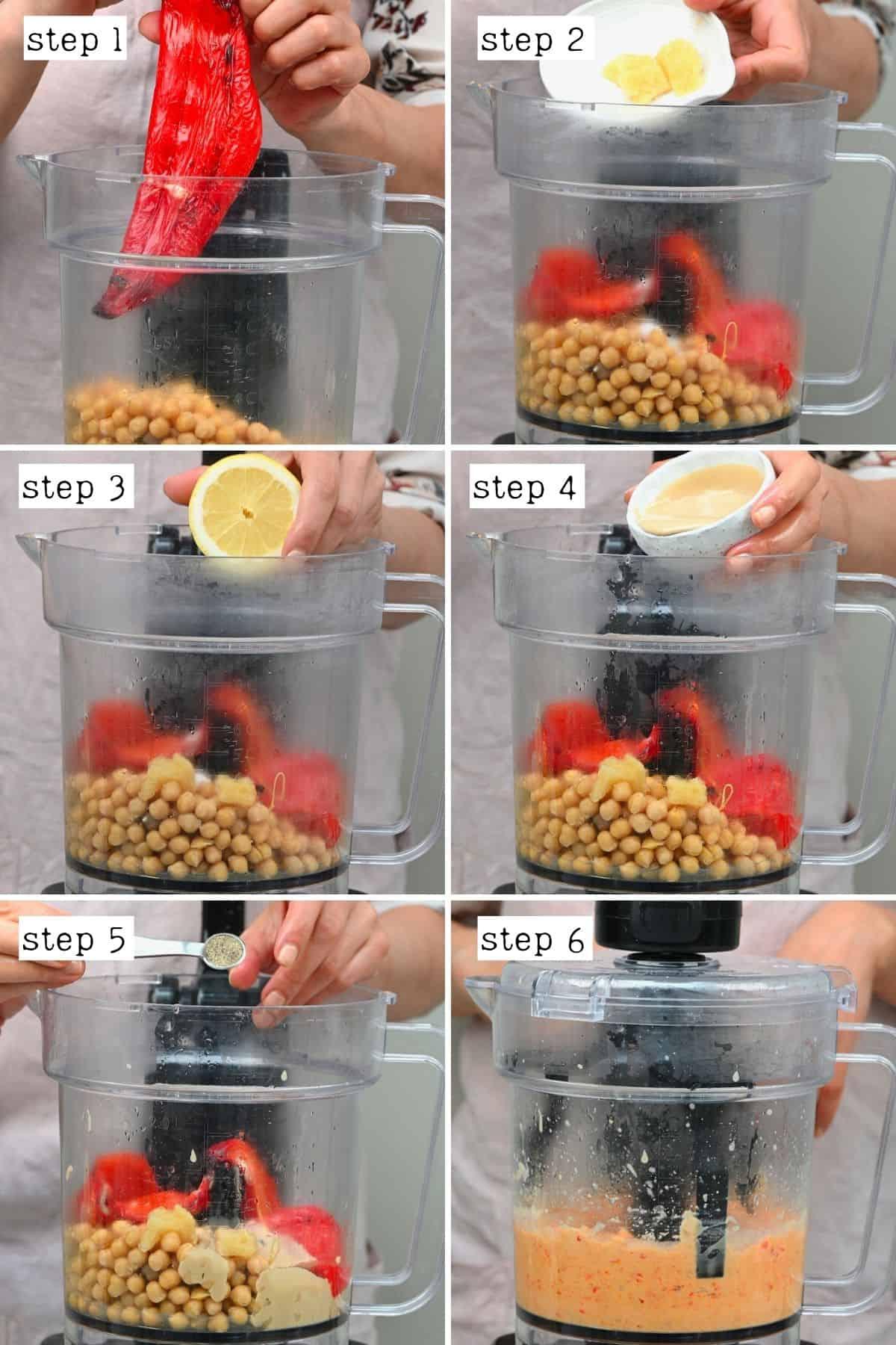Steps for preparing red pepper hummus