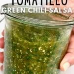 A jar filled with Salsa Verde