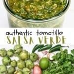 Ingredients for Salsa Verde and Salsa Verde in a jar