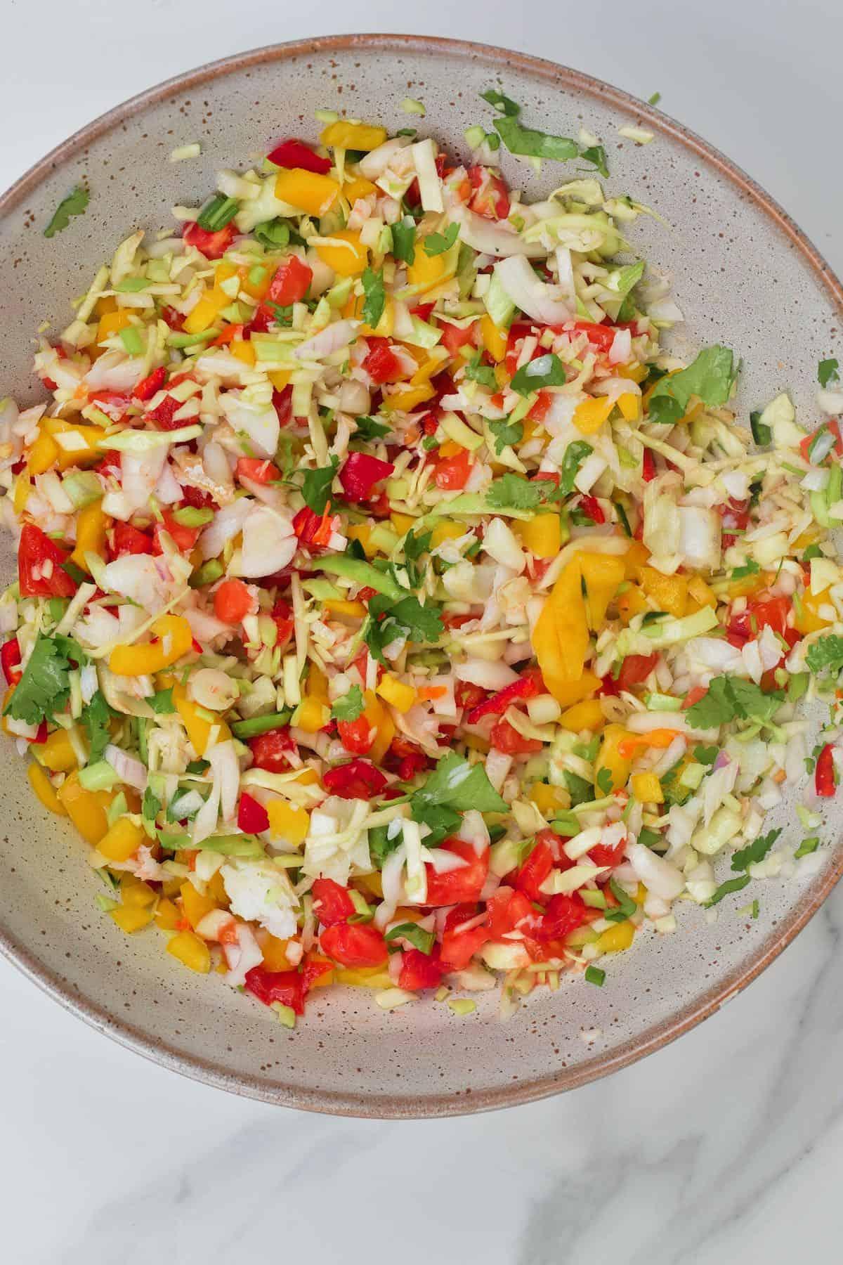 Mixed salted cod salad
