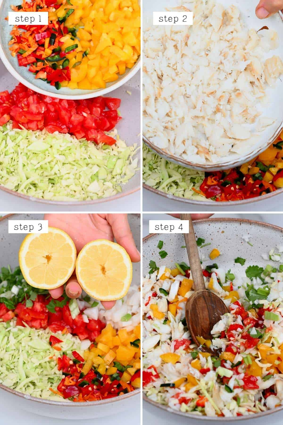 Steps for mixing salted cod salad