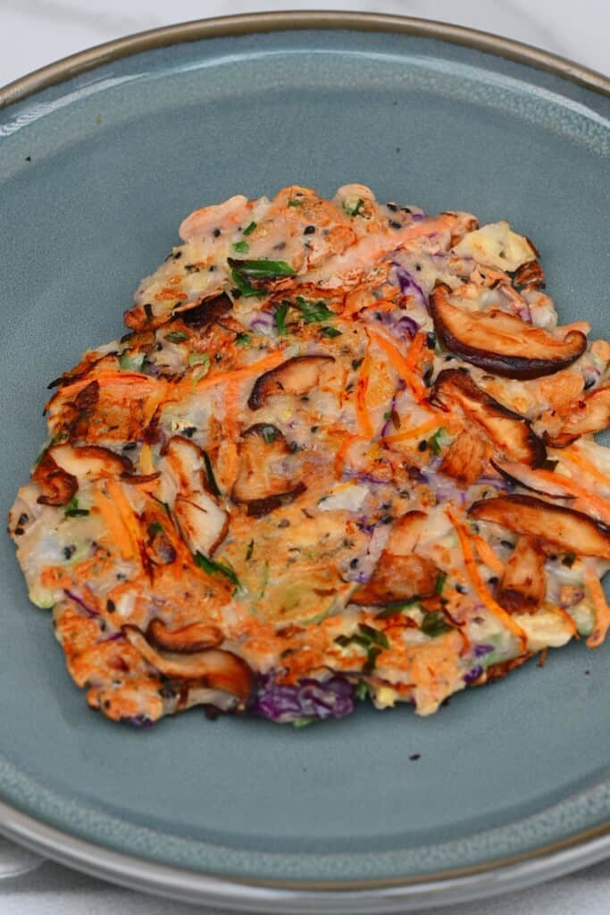 Savory vegetable pancake with on a plate