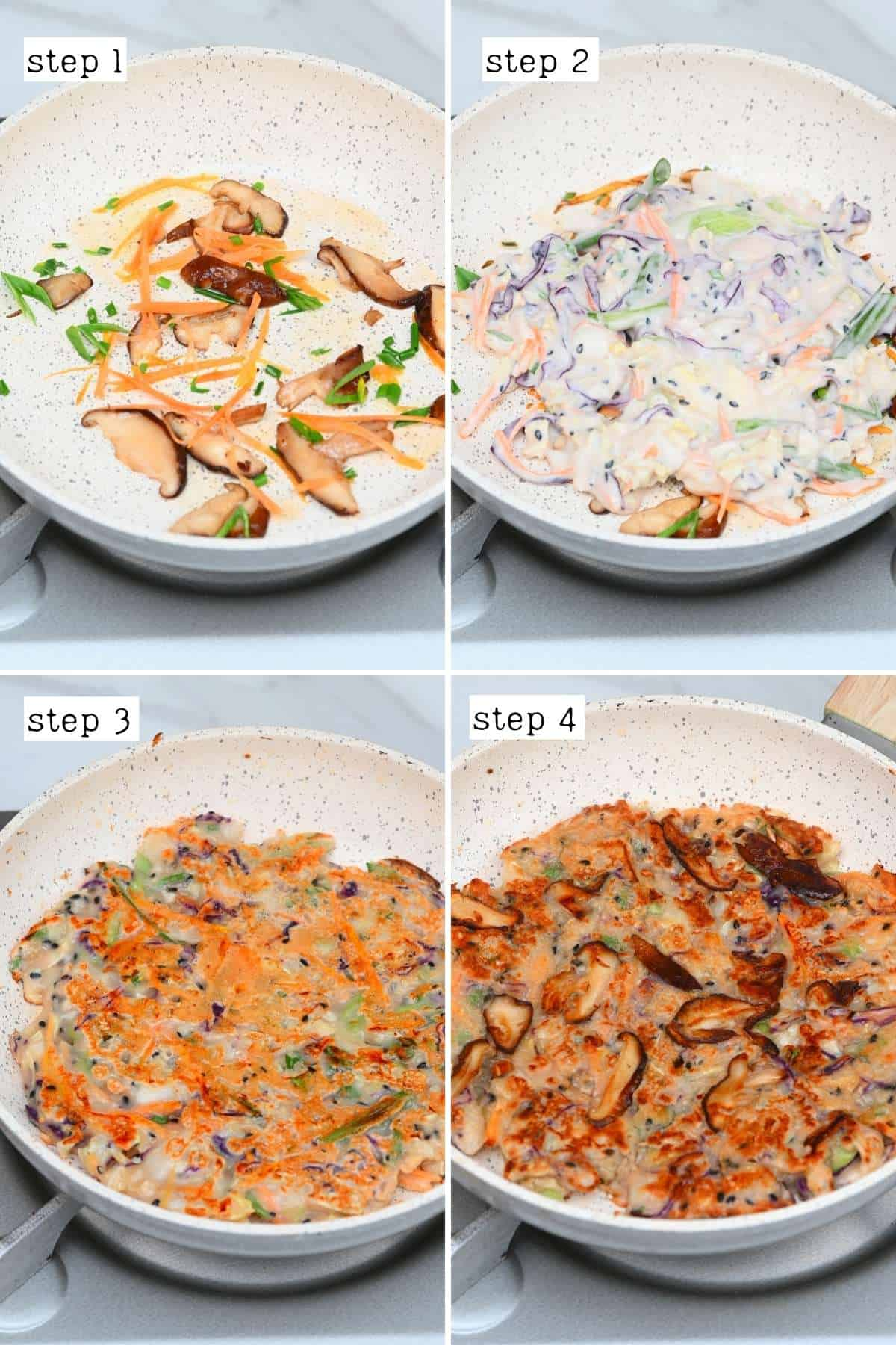Steps for cooking savory pancakes