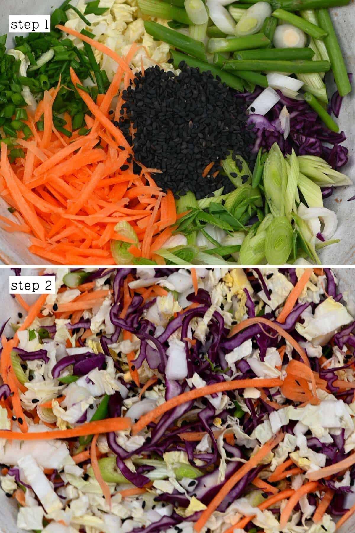 Steps for mixing shredded vegetables