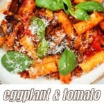 Tomato and eggplant pasta in a bowl
