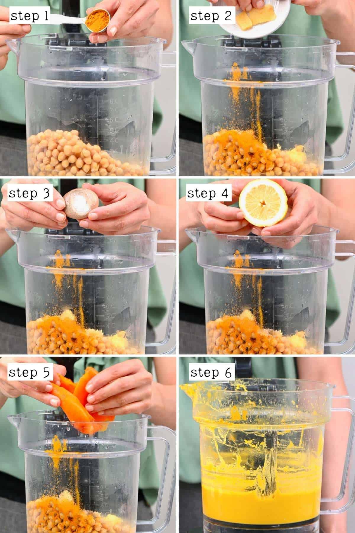 Steps for preparing turmeric hummus