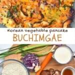 Korean vegetable pancake and ingredients to make it