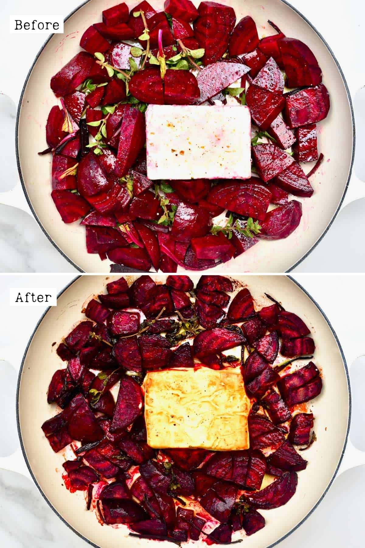 Before and after baking beetroot and feta