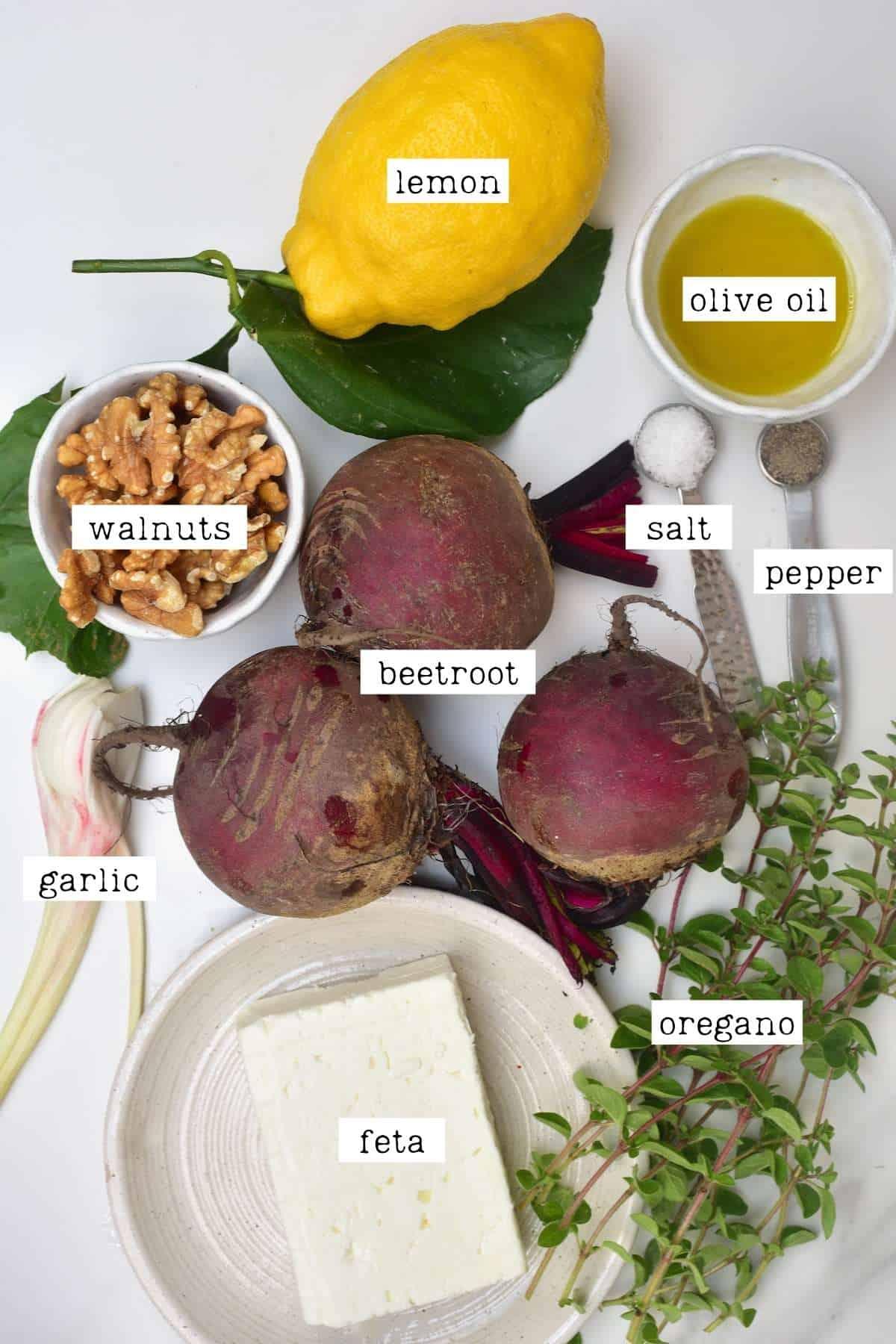 Ingredients for beetroot pasta sauce