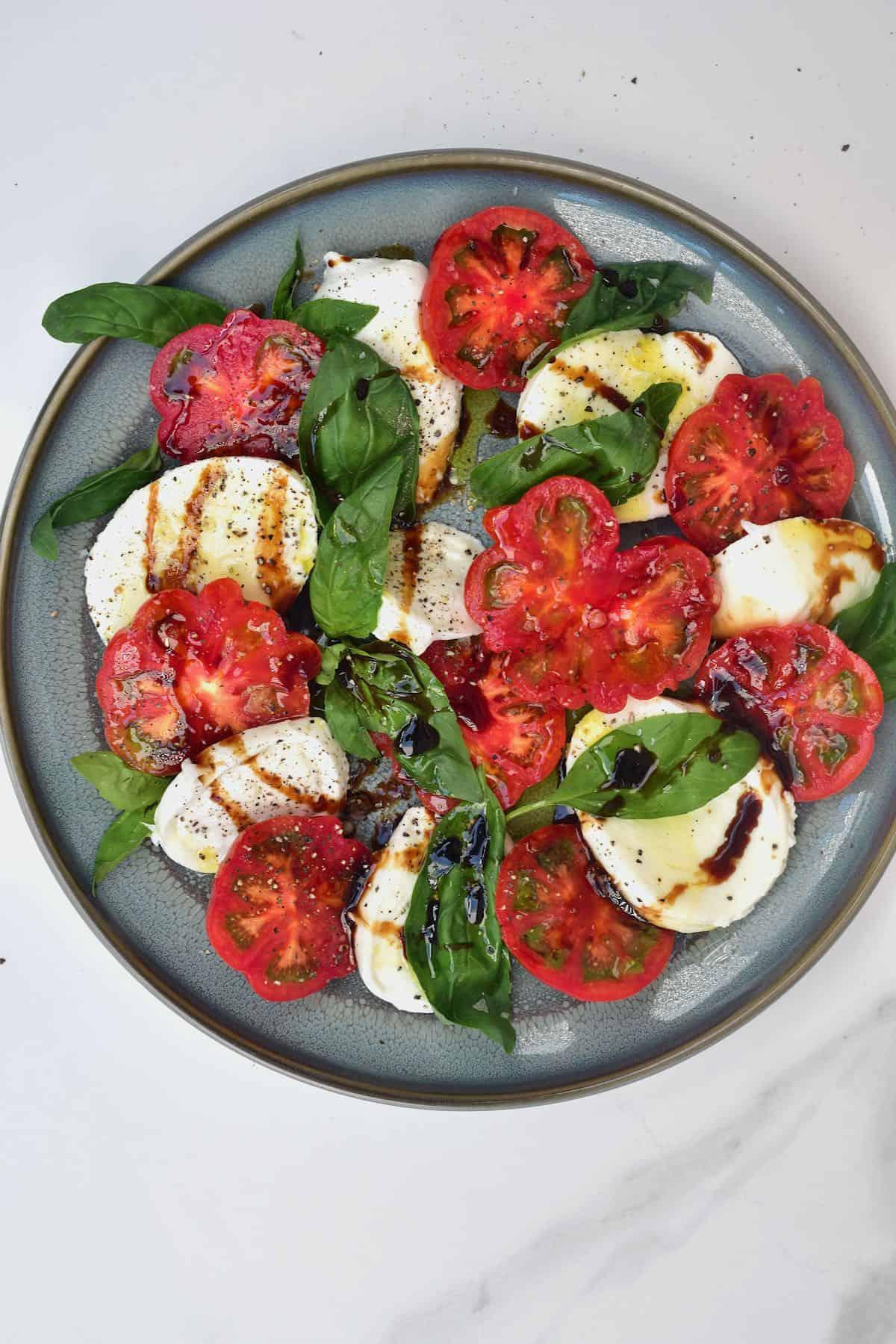 Caprese salad in a plate